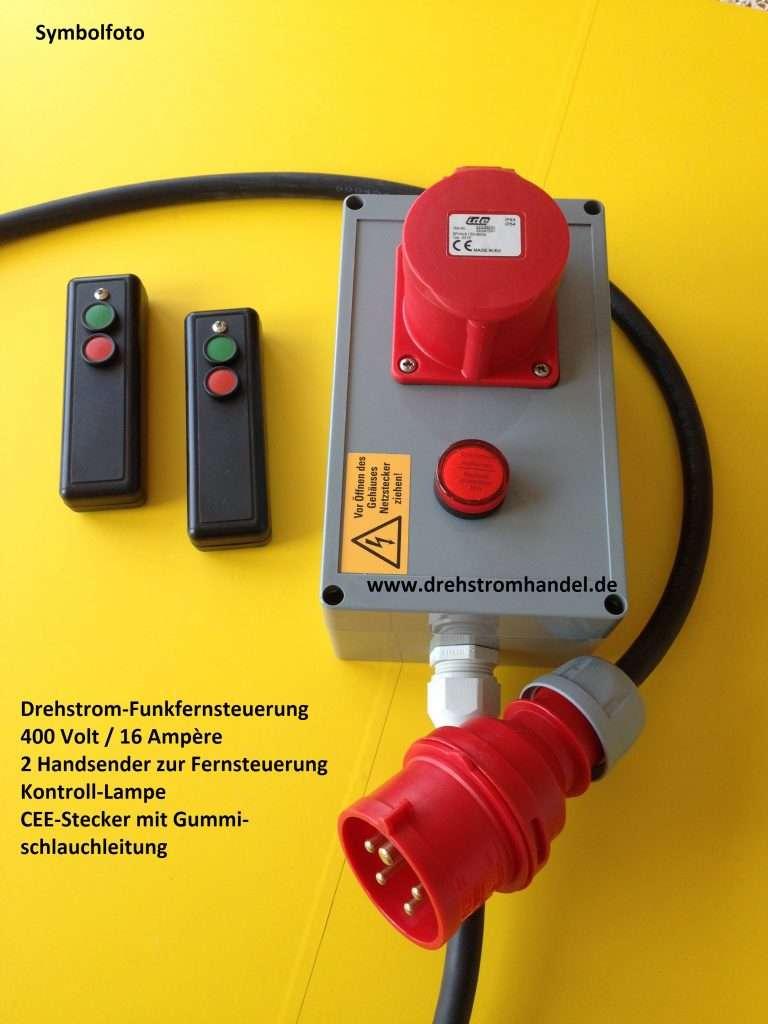 Drehstrom-Funkfernsteuerung, Drehstrom / Kraftstrom, Funkfernsteuerung Hochdruckreiniger, 400 Volt / 16 Ampère, 2 Handsender, Funkfernbedienung