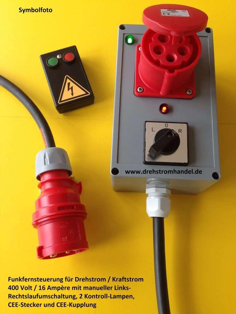 Drehstrom / Kraftstrom Funkfernsteuerung mit Umschaltung Rechts-Linkslauf, 400 Volt - 16 A., 3-phasig