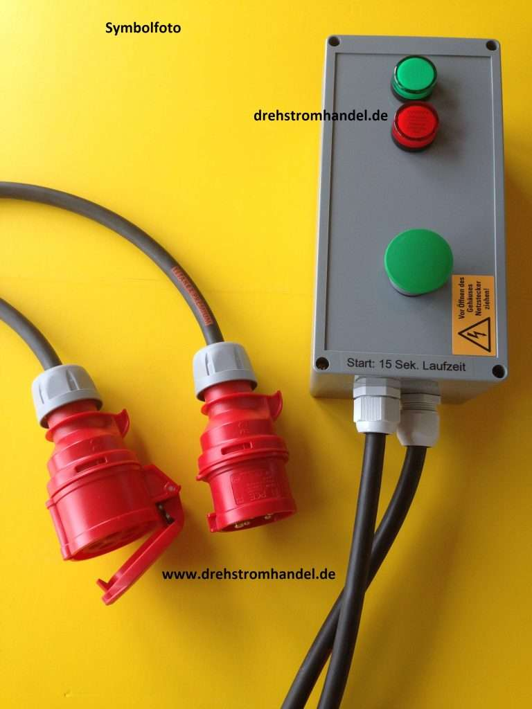 Drehstrom-Timer, Drehstrom-Ablauftimer, 400 Volt / 16 Amp. mit externer Starttaste, Zeiten nach Kundenwunsch