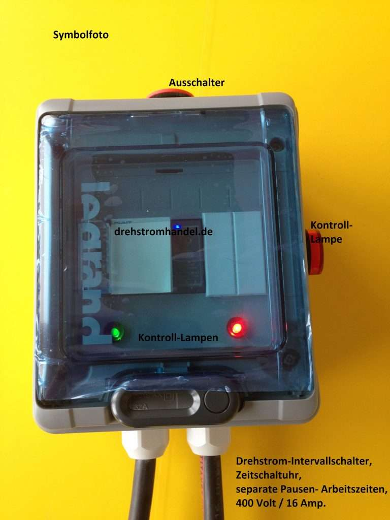 Intervallschalter für Drehstrom 400 Volt 16 Ampère für Drehstrommotoren / Förderbänder / Mischer / Mixer / Kutter / Rührer u.a.