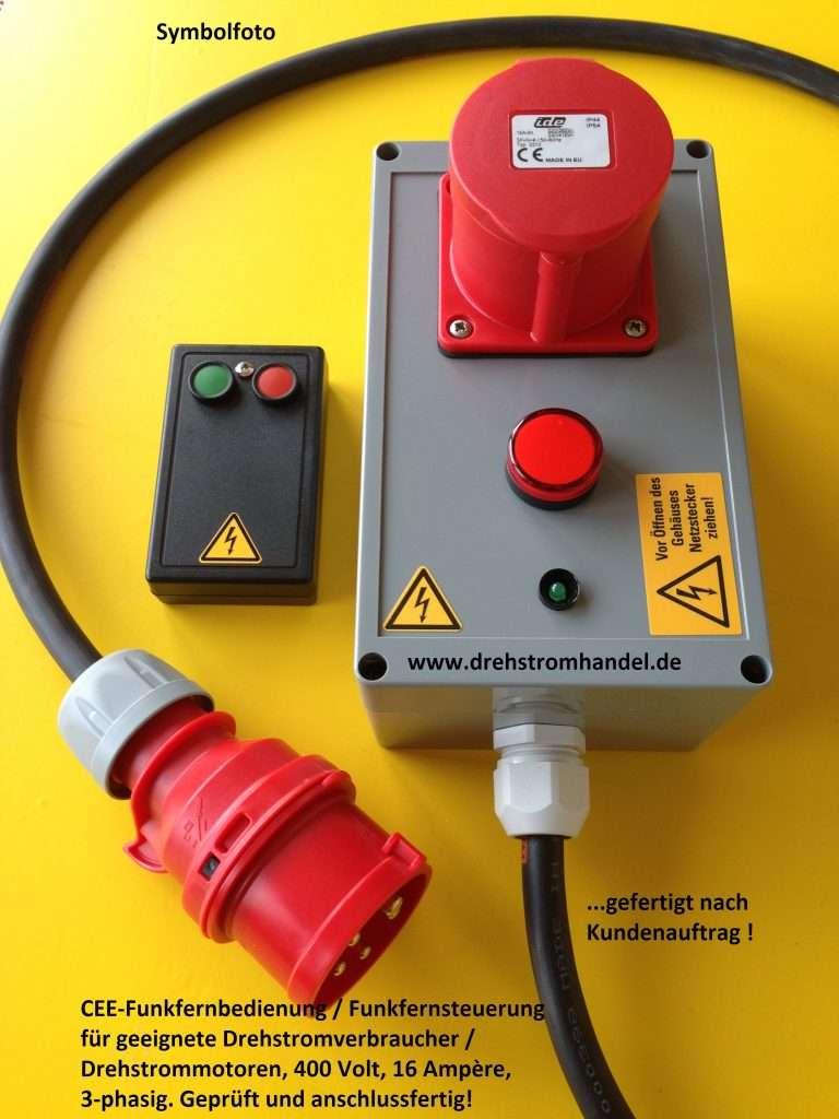 Funkfernsteuerung Drehstrommotoren 400 Volt / 16 Ampère, Funkschalter, Funkfernbedienung
