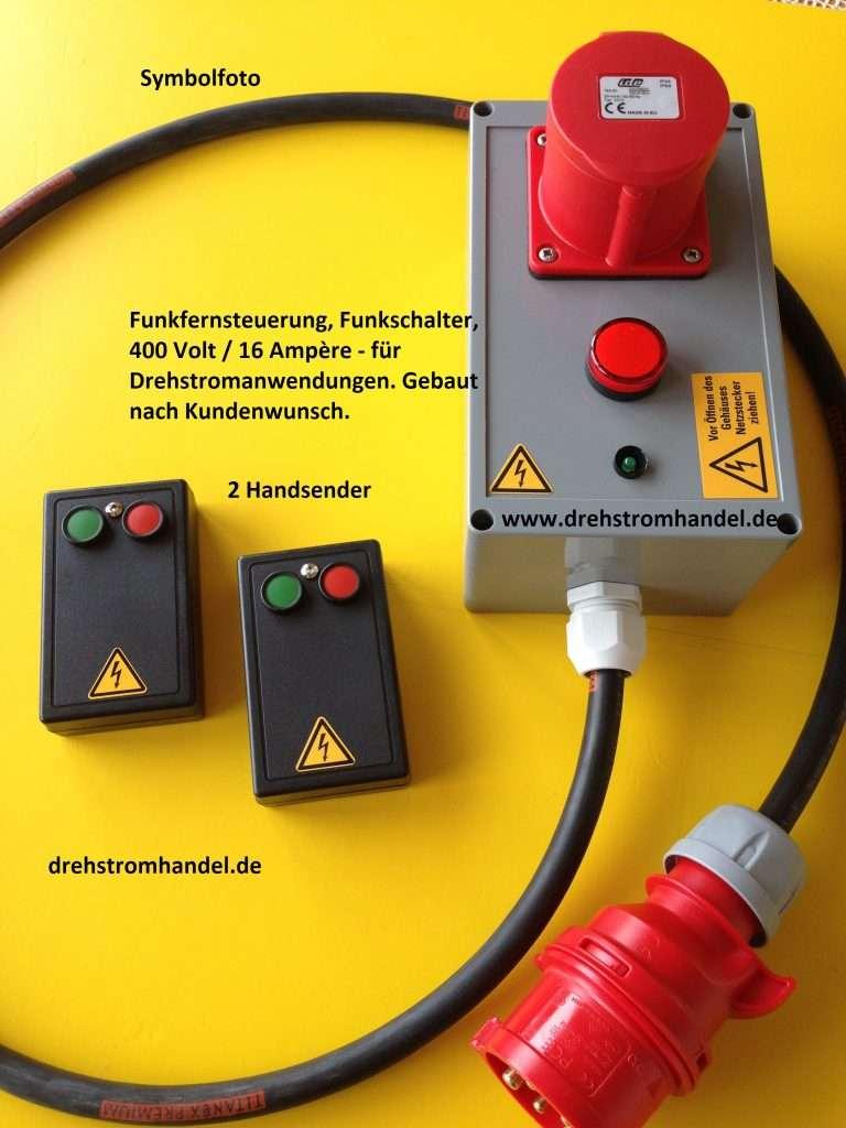 CEE-Funkfernsteuerung / Funkfernbedienung / Funkfernschalter für Drehstrommotoren, 400 Volt / 16 Amp. - nach Kundenwunsch gebaut, 2 Handsender