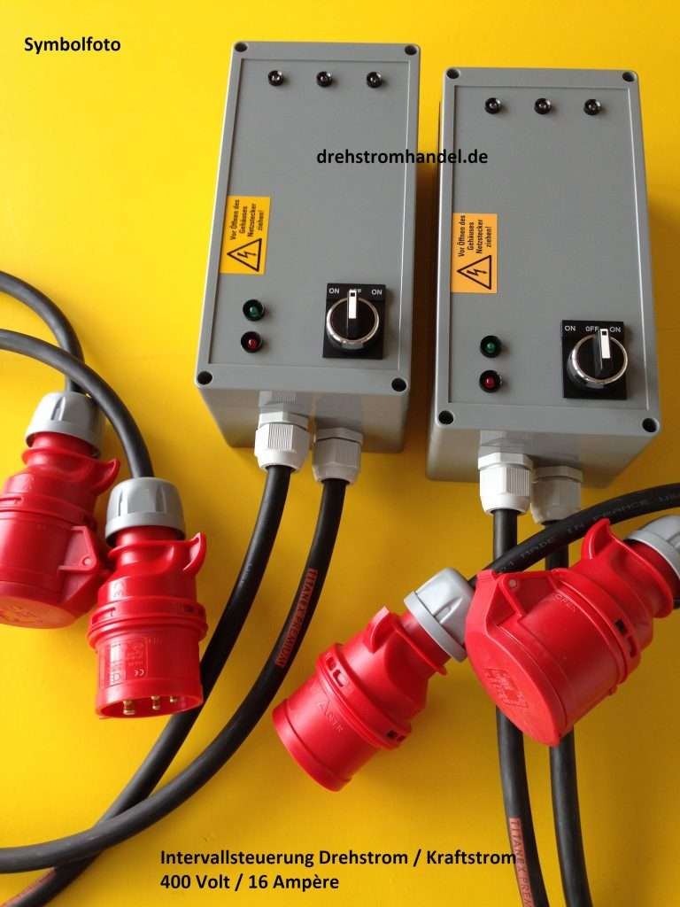 Intervallschalter, Intervallsteuerung Drehstrom 400 Volt / 16 Amp.